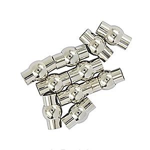 10x Schlauch Magnetverschluss mit Leim-in endet Schmuck DIY -Silber