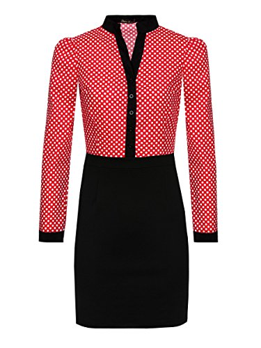 Laeticia Dreams Damen Abend Casual Kleid Business Punkte Langarm 36 38 40 Rot/Weiss