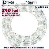 BAKAJI Tubo Luminoso con Controller 8 Funzioni, per Uso Interno Ed Esterno, 240 Luci LED, Bianco Freddo, 10 mt, Multicolore, Unica