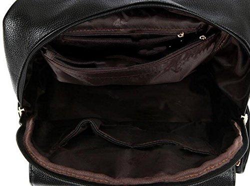 Temperament-Schulterbeutel Beiläufiger Art Und Weisedamen Rucksack-Reißverschluss-Schulterbeutel Black