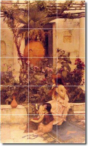 JOHN WATERHOUSE JARDIN BALDOSA CERAMICA MURAL 25  24X 40CM CON (15) 8X 8AZULEJOS DE CERAMICA