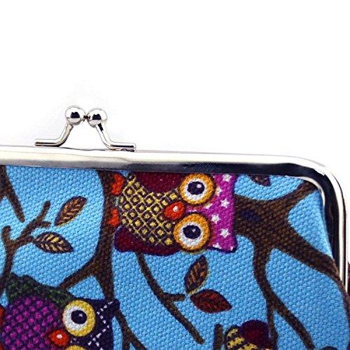 Donne civetta tela Hasp piccola moneta borsa portafoglio pochette Blue Blu