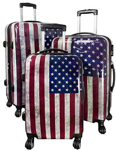 Kofferset Hartschale 3tlg Desgin Flagge USA integriertes Zahlenschloß Dehnfalte Trendyshop365