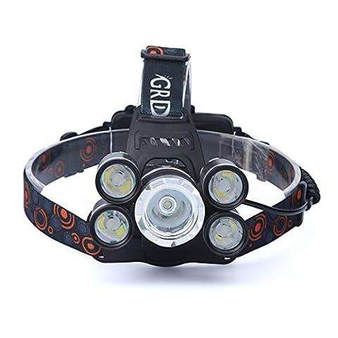 12shage 35000LM 5x CREE XM-L T6 LED-Scheinwerfer Scheinwerfer Taschenlampe-Kopf-Licht-Lampe 18650 (Torch Light 2)