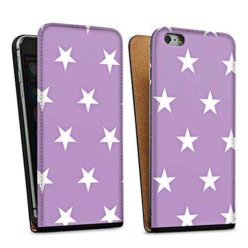 Apple iPhone 5s Housse Étui Protection Coque Étoiles Polka Lilas Sac Downflip noir