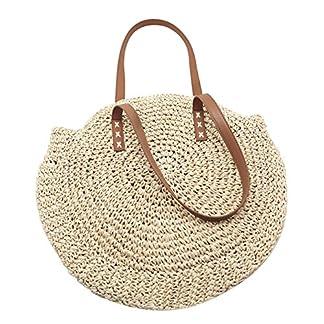 Bolsa de playa tejida, al aire libre, circular hecha a mano, bolso de paja trenzado, bolsa de viaje de doble propósito para mujer y rejilla