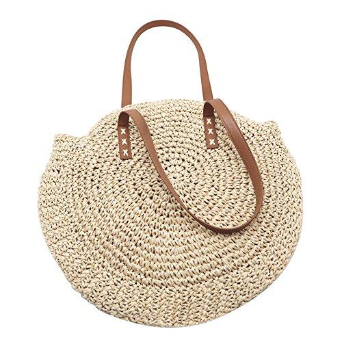 Runde Stroh Strandtasche Sommer Vintage Handarbeit Umhängetasche Kreis Rattan Tasche böhmische Umhängetasche für Frauen