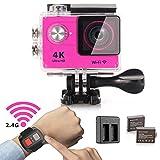YDI Action Kamera Wasserdicht Sport DV Unterwasser Action Camera Cam Camcorder 4K Ultra HD 1080P Wifi 12 MP 170 Weitwinkel-Objektiv mit remoted Kontrolle Uhr, 2 Batterien und Doppelbatterie insgesamt 23 Zubehör-Set (Rosa)