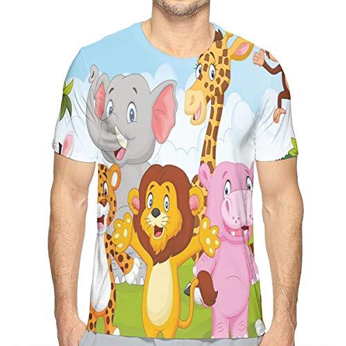 3D Printed T Shirts,Comic African Savannah Animals Playful Friendly Safari Jungle Happy Wildlife Nature L