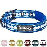 Blueberry Pet Halsbänder für Hunde 2cm M 3M Reflektierendes Hundehalsband in Palast-Blau mit Jacquardmuster, Passende Leine & Geschirr Separat Erhältlich