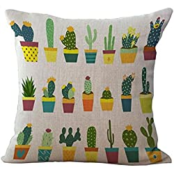 Funda de Cojín Almohada Lino Caso Algodón Impresión de Cactus Tropical Decoración Coche Casa - 4#
