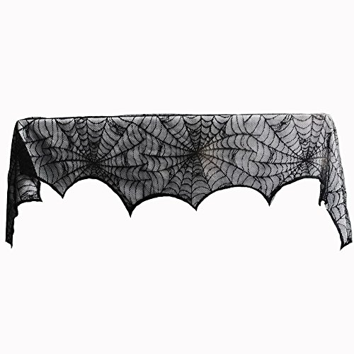 Halloween Kamin Dekorationen Lace Spiderweb Fledermäuse Mantel Schal Volants Abdeckungen Topper Tischläufer Haunted House Party Thema Dekor Halloween Indoor Dekorationen 18 x 96 Zoll - Lace Volant Polyester