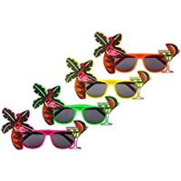 Tropical Hawaiian Luau Novelty Glasses 4PCS Hawaiian Sunglasses for Beach Fancy Dress by CCINEE