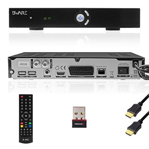 BWARE JB008 Sat Receiver HD TV 3D FULLHD (Nachfolger vom Beware JB007) + PremiumX PX150 MINI W-Lan Stick Wireless N 150 Mbit USB-Micro-Pen Adapter Wlan + 1m PremiumX High Speed HDMI Kabel