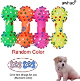 Textured Paw Pattern Bone Style Pet Dog Doggie Chew Squeaky Sound Toy Random Color