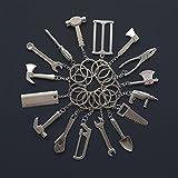 Grandorient 16pcs/pack Mini Pretend Play Hardware Tool Metal Keychain Toy Gift Assorted Designs DIY Creative Tool Car Keyring