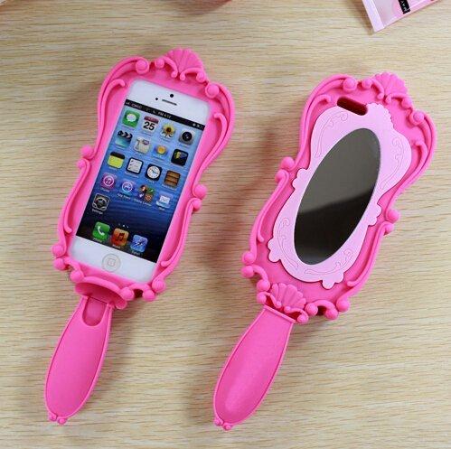 Hot Pink und Pink Weich Silikon Spezielle Design Spiegel Fall mit Handbrause Griff für Apple iPhone 55S iPhone 611,9cm iPhone 6Plus (14cm Version), Silikon, Hot Pink, iPhone 5 5S Hot Pink