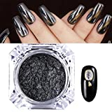 Polvo de uñas, hunpta espejo clavos de pigmentos en polvo efecto cromado nuevo rosa negro Nail Art negro negro