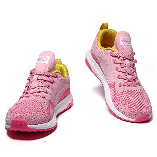 Onemix Hommes Femmes Pas cher Poids léger Sneakers Formateurs Chaussures de course Rose