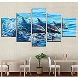 Zgznb Wandkunst Leinwand Malerei HD Drucke Wohnkultur Ozean Tier 5 Stücke Delphin Modulare Kinderzimmer Bilder Landschaft Kunstwerk Poster(Gürtelrahmen)