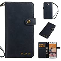 Galaxy J5 Prime Case, CUSKING Premium Soft Leather Slim Shockproof Wallet Case Flip Folio Notebook Style Cover with Card Slots and Magnetic Closure for Samsung Galaxy J5 Prime - Navy Blue