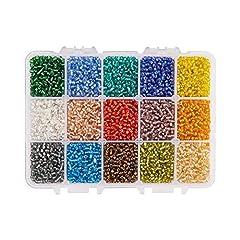 Idea Regalo - PandaHall Elite Circa 12000 Pz 12/0 8 Colori Perline di Vetro Perline Perle di Vetro Smerigliato Rotondo Perline Mini Spacer Perline ceche Diametro 2mm per la Produzione di Gioielli