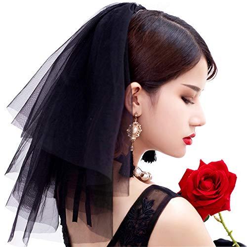 Glaxy Unbekannt Kurze Schleier Schwarz Retro 40cm Hochzeit Brautschleier im netz gaze Schleier, mit kämm, aus Tüll für fotografie porträt foto (Schwarzes Kostüm Haar Spray)