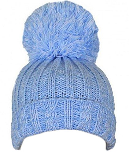 Soft Touch Baby Boys Girls Cable Knit Hat with Large Pom Pom 0-12 Months H480 (Blue)