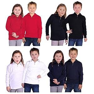 Medico Kinder Ski Shirt, 100% Baumwolle, Langarm, Rollkragen, Reißverschluss