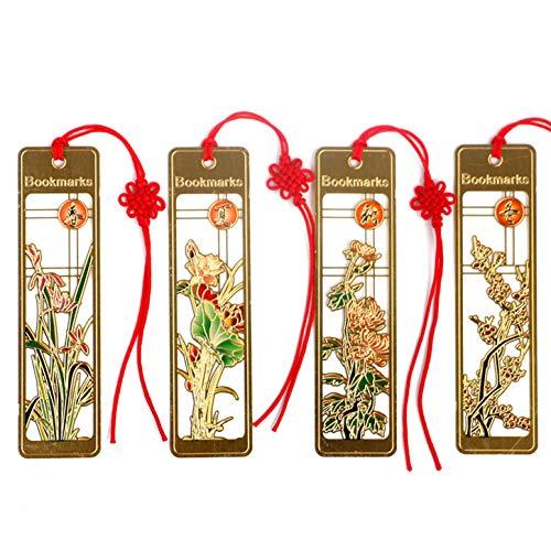 YANGPEI Klassische Metallic-Marker - Four Seasons Floral Style - Rot geknotetes Band -