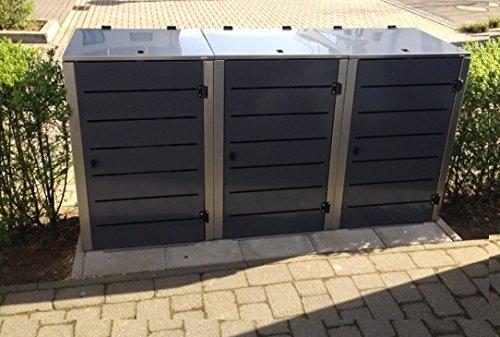 Mülltonnenbox Edelstahl, Modell Eleganza Line 120 Liter als Dreierbox in RAL 7016 Anthrazitgrau - 4