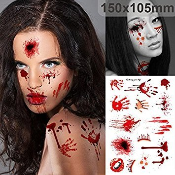 Bazaar Halloween Supplies Schorf Blutige Makeup Zombie Tattoos Terror Wound Scary blutigen Aufkleber