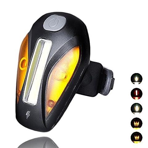 FREEMASTER Fahrrad Rücklicht USB Wiederaufladbares Rücklicht für Radfahren, Spritzwassergeschützt, Superhelle Rückleuchte LED Fahrradlampe (Gelb)