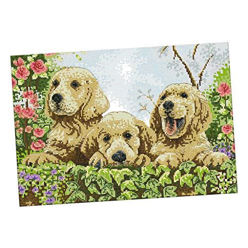 Hellery Gezählte Kreuzstich Stickpackung Nadelmalerei vorgezeichnet Hündchen Muster Wandbild zum Sticken, Stickset Stickvorlage -