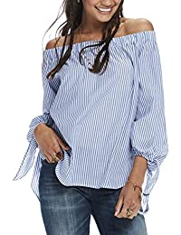 Scotch & Soda Maison Off the Shoulder Cotton Top In Stripes and Solids, Hauts Femme