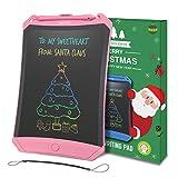 NEWYES Tabella di Scrittura LCD Colorato 8,5 Luminosa Robot Pad eWriter Blocco Note Elettronico con Tasto di Blocco, Magneti, Corda (Rosa- Linee Colorate)