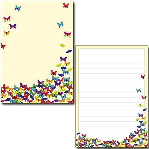 2 Schreibblöcke bunte Schmetterlinge 50 Blatt Format DIN A5 mit Deckblatt 7180