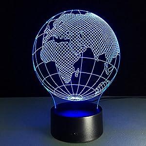 ZQQ Increíble LED 3D Luz de la noche África Mapa Acrílico 7 Color Cambio Ilusión Regalo Lámpara de sobremesa