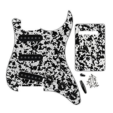 Fleor Pickguard Ensemble SSS Style Pickguard plaque arrière avec Pickup couvertures et boutons de remplacement pour Fender Stratocaster Guitare électrique, agate Noir