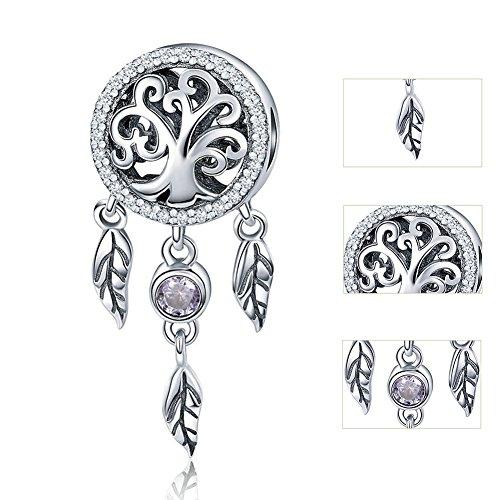 TIANXIN Abalorio de árbol familiar de plata de ley 925, diseño de corazón, para chica y atrapasueños, para pulsera, collar, bricolaje, joyería para mujer