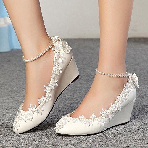 6de935b9 JINGXINSTORE La princesa Perlas Encaje Floral cuña Dama Zapatos de novia  boda mujer Tacones altos nuevos