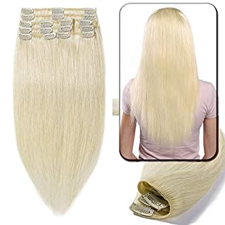 Blonde Clip in Remy Human Hair Extensions Real Natural Hair - Standard Weft - 8 Pieces for Full Head (20