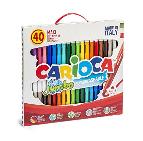 Carioca 41257 00 - jumbo scatola con maniglia, 40 pezzi