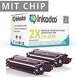Inkadoo Toner [Mit Chip] kompatibel für Brother MFC-L 2710 DW, MFC-L 2710 DN, MFC-L 2750 DW ersetzt Brother TN-2420, TN2420, TN-2410, TN2410 - Premium Drucker-Kartusche - Schwarz - 2 x 3.000 Seiten