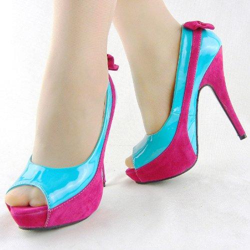 Show Story LF30407 Chaussures à bout ouvert, plateforme et talon aiguille avec nœud Bicolores Bleu