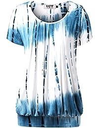 DJT Femme T-shirt Manches courtes Hauts Plisse devant Casual Tops en Ete
