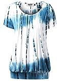DJT Damen Casual Falten Kurzarm T-Shirt mit Stretch Rundkragen Blau M