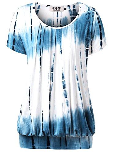 DJT Damen Casual Falten Kurzarm T-Shirt mit Stretch Rundkragen Blau L