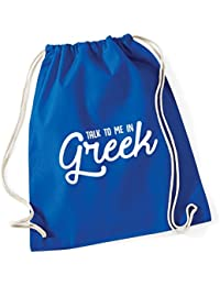 HippoWarehouse Talk to me in Greek Drawstring Cotton School Gym Kid Bag Sack 37cm x 46cm, 12 litres
