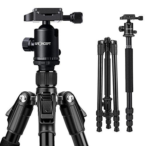 K&F Concept TM2534B Reisestativ Tripod Stativ Aluminium Kamerastativ für Nikon Canon SLR-Kamera mit Kugelkopf Einbeinsativ-Funktion 47,5cm-162cm
